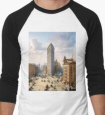 Flat Iron in New York City, ca 1903 colorized Men's Baseball ¾ T-Shirt