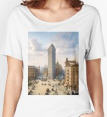 Flat Iron in New York City, ca 1903 colorized Women's Relaxed Fit T-Shirt