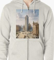 Flat Iron in New York City, ca 1903 colorized Zipped Hoodie