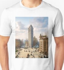 Flat Iron in New York City, ca 1903 colorized Slim Fit T-Shirt
