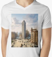 Flat Iron in New York City, ca 1903 colorized V-Neck T-Shirt