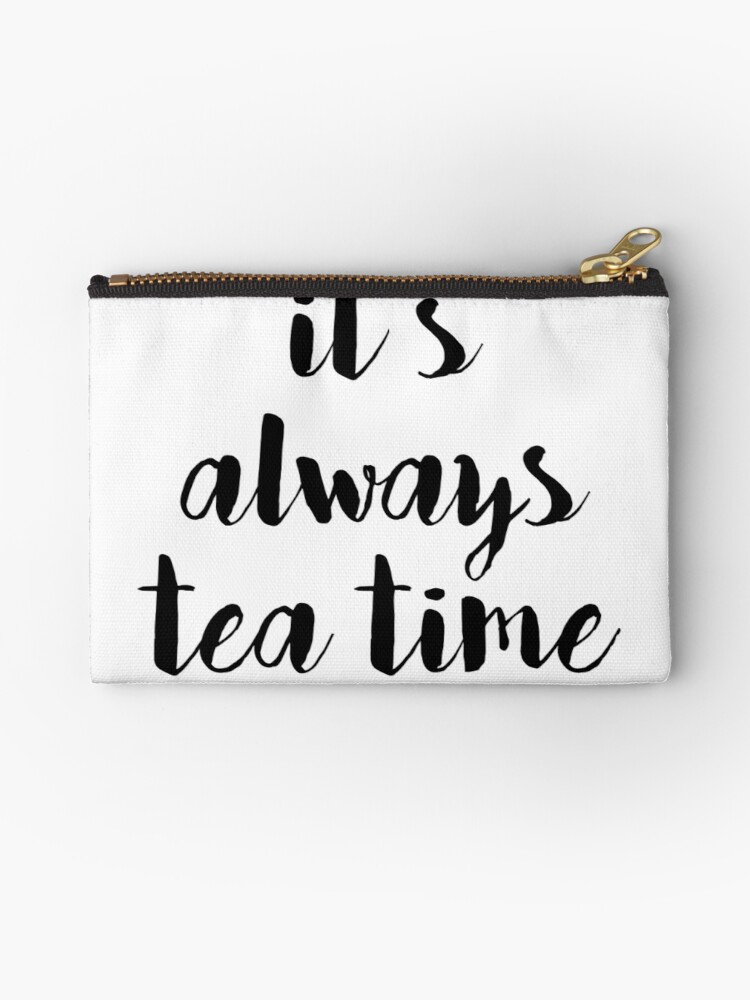 Calligraphy Hand Written Phrases About Tea Zipper Pouch By Alexrow