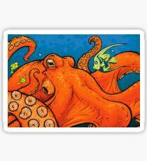 An Enormous Orange Octopus Sticker