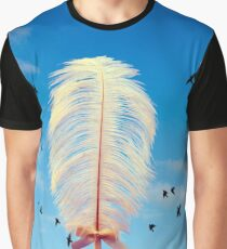 white feather and birds flying Graphic T-Shirt