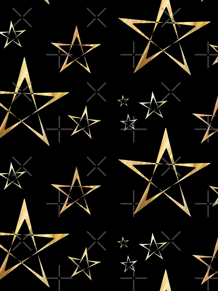 Golden Stars Print on Black by carriepotter