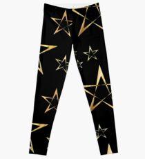 Golden Stars Print on Black Leggings