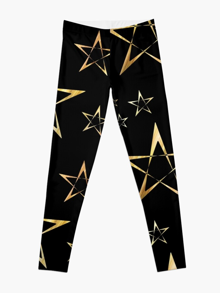 Alternate view of Golden Stars Print on Black Leggings