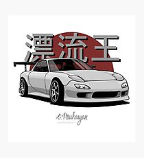 Drifting King RX7 (white / gray) Photographic Print