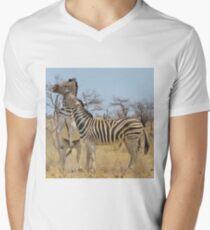Zebra Fight - African Stallions Men's V-Neck T-Shirt