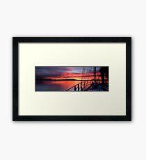 Nautical Sailboat Sunrise. Photo Art. Framed Print