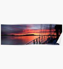 Nautical Sailboat Sunrise. Photo Art. Poster