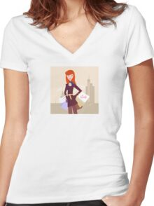 Fashion woman with shopping bags in town Women's Fitted V-Neck T-Shirt