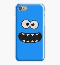 Funny Monster Smiley (Om Nom Nom Style) Face (blue background) iPhone Case/Skin
