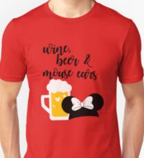 Wine, Beer & Mouse Ears for Girls by Last Petal Tees T-Shirt