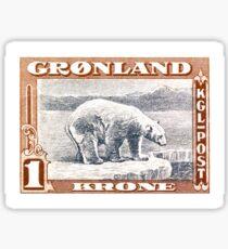 1915 Greenland Polar Bear Postage Stamp Sticker
