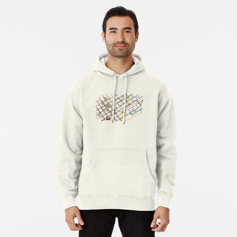 Downtown Billings Brewery Map | Pullover Hoodie