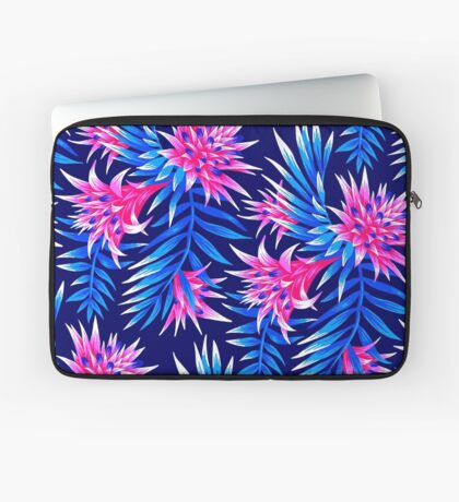Fasciata Tropical Floral - Mid Blue/Pink Laptop Sleeve