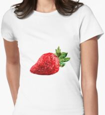 Oil Pastel Strawberry Women's Fitted T-Shirt