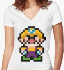 Pixel Wario Women's Fitted V-Neck T-Shirt