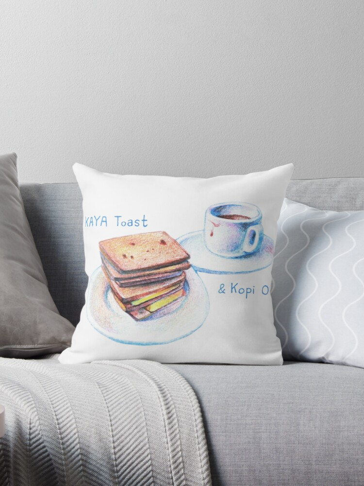 "Kaya toast & Kopi O from Singapore"" Throw Pillows by ChangChunTzu"