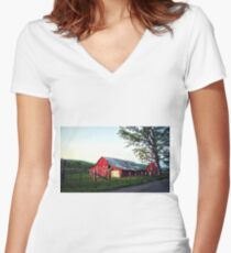Red Barns Women's Fitted V-Neck T-Shirt