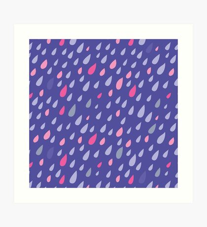 Blue Funny Drops Art Print