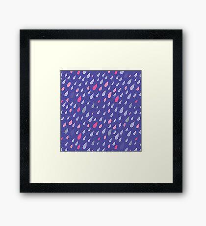 Blue Funny Drops Framed Print