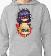 Ladybug and Chat noir vertical Pullover Hoodie