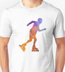 Man roller skater inline 03 in watercolor Unisex T-Shirt