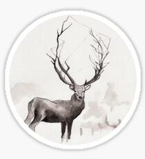 Art Illustration - Deer in the fog Sticker
