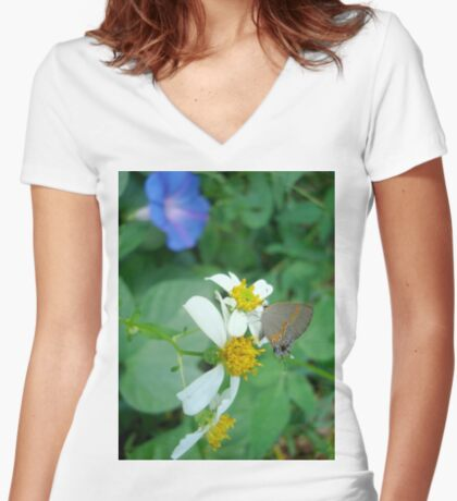 Banded Hairstreak in Spanish Needles Women's Fitted V-Neck T-Shirt