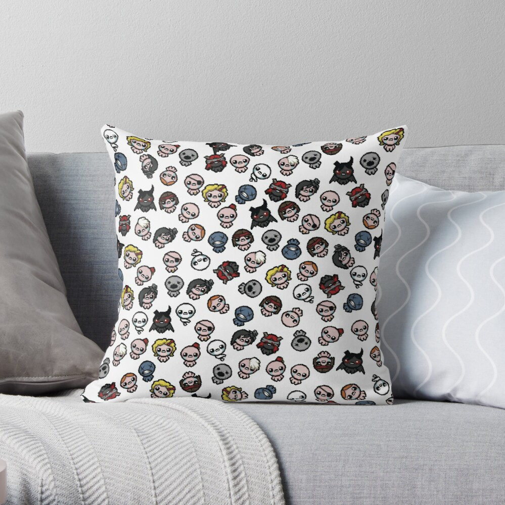 """The Binding Of Isaac Characters Pattern"" Throw Pillow By"