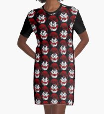 Cat Skull Shield T-Shirt Kleid