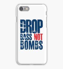 Drop Bass Not Bombs (dark blue/red)  iPhone Case/Skin
