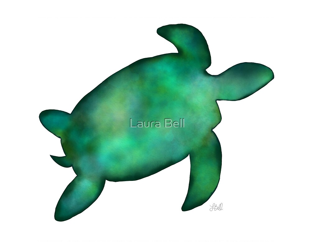 """""""Sea Turtle Silhouette in Vibrant Shades of Green"""