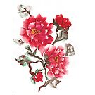 Peonies, painted in gouache.  by miroshina
