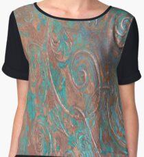Dated Copper Swirl Chiffon Top