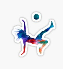 Woman soccer player 08 in watercolor Sticker