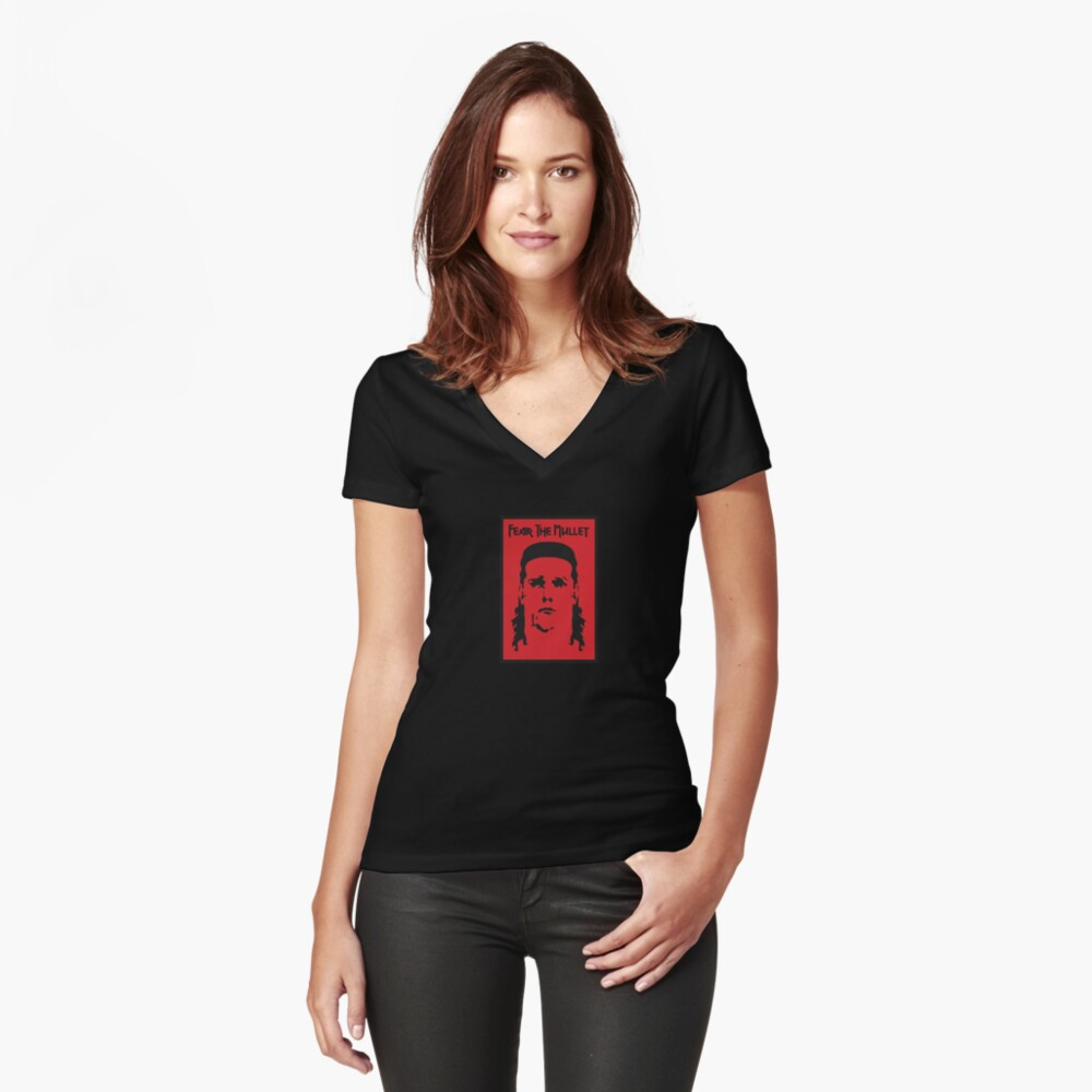Fear the Mullet Women's Fitted V-Neck T-Shirt Front