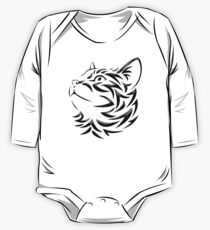 Cat, Tribal Cat, Cat looking Up, Feline, Puss, Pussy One Piece - Long Sleeve