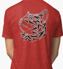 Cat, Tribal Cat, Cat looking Up, Feline, Puss, Pussy Tri-blend T-Shirt