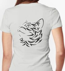 Cat, Tribal Cat, Cat looking Up, Feline, Puss, Pussy Womens Fitted T-Shirt
