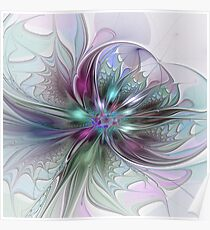 Colorful Fantasy Flower abstract and modern Fractal Art Poster