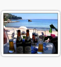 BEACH, BATHING AND BEER. Sticker