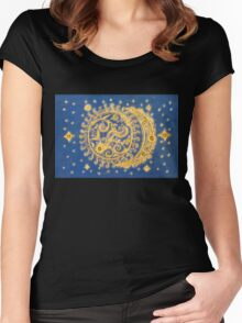 Celestial Bodies - Sun and Moon Women's Fitted Scoop T-Shirt