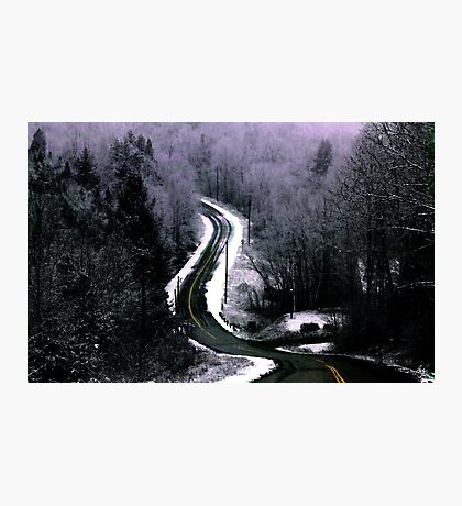 First Snow on the Road Through Ellsworth Photographic Print