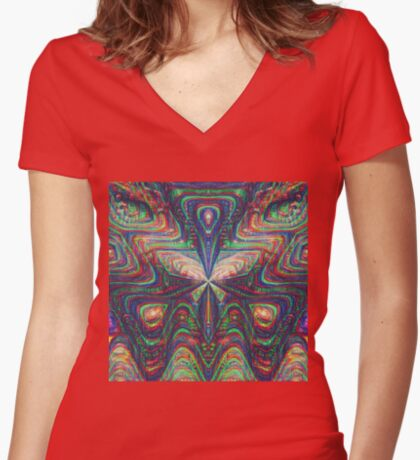 Warrior #DeepDream frequency Fitted V-Neck T-Shirt