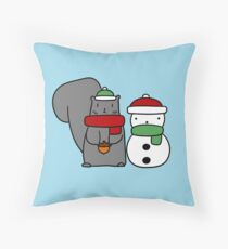 Squirrel and Tiny Snowman Throw Pillow