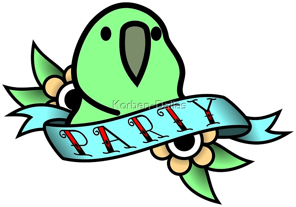 Party Parrot Vintage Tattoo by Korben-Dallas