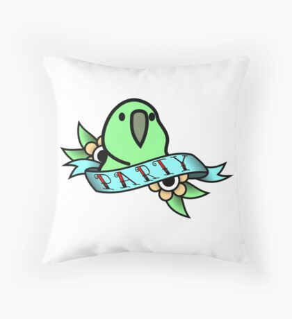 Party Parrot Vintage Tattoo Throw Pillow